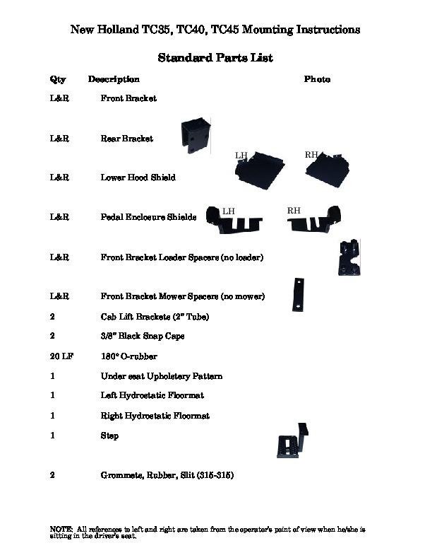 New Holland TC35DA TC40DA TC45DA Boxer Parts List Mounting Instructions
