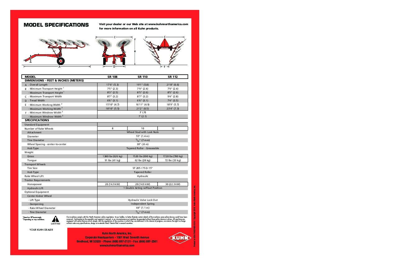 kuhn knight sr 108 sr 110 sr 112 speedrake wheel rakes